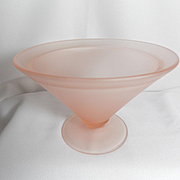 Vintage Frosted Pink Pedestal Candy Dish