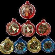 Vintage Set of 8 Jewelbrite Christmas Ornaments