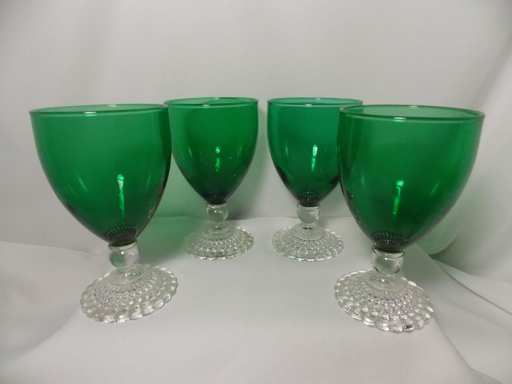 4 Anchor Hocking Bubble Foot Green Water Goblets