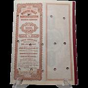 1907 Wichita Falls and Northwestern Railway Company Bond w/coupons