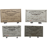 Four 1875 Railroad Exchange Tickets various Illinois, Iowa, Missouri, Kentucky