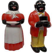 F & F 5 inch Aunt Jemima Uncle Mose Salt and Pepper Shaker