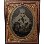 Beautiful Vintage Cased Tintype of a Baby Holding a Rag Doll