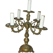 Vintage Bronze Tabletop Four Arm Candelabra