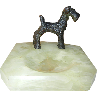Great Vintage Terrier Dog on Onyx Catchall Tray