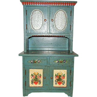 1920's German Tole Hand Painted Wooden Doll Cupboard
