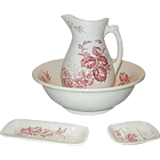 Lovely Antique Pitcher Plus Three Pieces Bath Set for Washstand