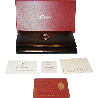 Authentic Cartier Ladies Leather Black Wallet