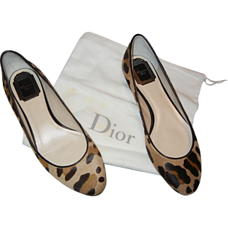 Authentic Dior Leopard Print Calf Hair Shoes, Size 7