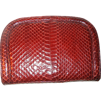 Authentic Salvadore Ferragamo Red Python Skin Clutch/Over the Shoulder Handbag