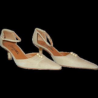 Authentic Chanel Beige Linen Kitten Heels with Pearls, Size 6 1/2