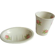 Adorable Crabtree & Evelyn Soap Dish & Toothbrush Cup