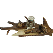 Antique Black Forest Antler Stand with Cut Glass Ink Well and Letter Opener ca. 1900