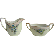 Darling Vintage 1940's German Creamer & Sugar Bowl with Forget-Me-Nots from Z.S.&C. Bavaria