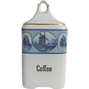 Pretty Blue and White Vintage Schwarzburg German Coffee Canister with Dutch Windmill and Ship Motifs