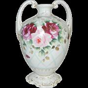 Unusual Vase with Beautiful Cabbage Roses on Latticework