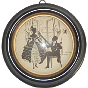 Darling Vintage Miniature Silhouette Style Print of Man and Woman with Musical Theme