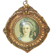 Sweet Shabby Chic Vintage Miniature Portrait of French Woman