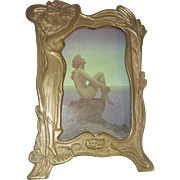 Vintage Brass Art Nouveau-Style Picture Frame with Stand