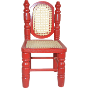 Adorable Little Red Doll Chair with Caning, So Sweet!