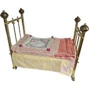 19th Century Antique Brass Bed Salesman Sample Doll Bed, Adorable!