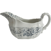 Pretty Blue Transferware Gravy Bowl with Scroll Shaped Handle