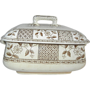 "Charming Antique T. F. & S. Transferware Square Covered Casserole in the ""Morocco"" Pattern"