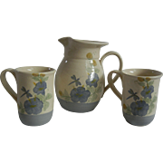 Summertime Pottery Set - Pitcher & Two Mugs with Dragonfly Motif