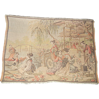 Beautiful Vintage Asian Style Small Tapestry Made in Belgium