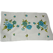 Gorgeous 1950's Pure Linen Kitchen Towel with Turquoise Flowers