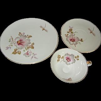 1940's Alka Bavaria Three Piece Porcelain Breakfast Set with Dragonflies