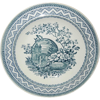 Charming 19C Wedgwood Transferware Bowl with Flowers, Birds and a Castle