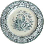 Charming Small 19C Wedgwood Transferware Plate with Flowers, Birds and Landscape
