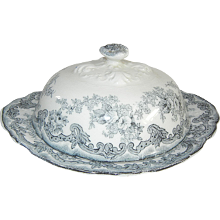 """Antique New Wharf Pottery """"Harwood"""" Blue and White Covered Dish, C. 1891-1894"""