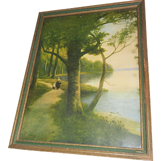 Lovely Vintage Framed Print of a Stroll By the Lake