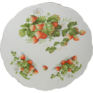 Pretty Bavarian Plate with Strawberries Leaves & Flowers