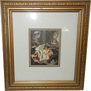 Vintage Framed Print of Artistic Cupids Working on Sculptures