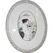 Rare Limoges France Plate/Tray with Asian Woman & Baby