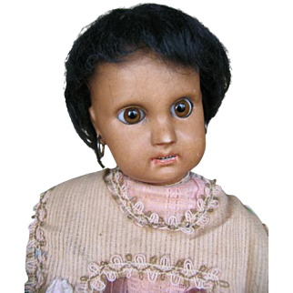 Jumeau mulatte 13 inches or 34 cm french antique doll .