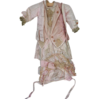 Outfit made from old material silk and lace with hat,fits a 24 to 26 inches doll