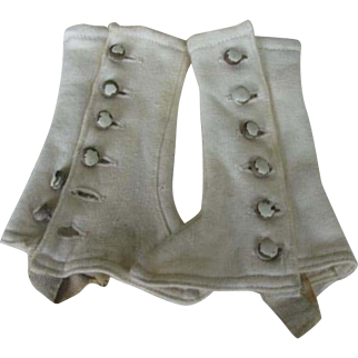 Antique cloth overshoes dor a 22 to 26 inches doll