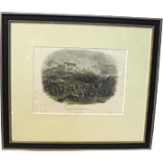 """50% OFF SALE: Hand Colored Lithograph Crimean War """"Capture of the Malakoff Tower"""" published circa 1860 James S. Virtue, London"""