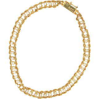Center row of Diamonds Rope Boarder Tennis Bracelet 14k gold 7 inches