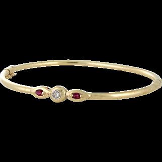 Custom Bangle Bracelet with Diamond and Ruby 14k gold