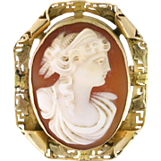 Natural Shell Cameo Brooch perfect for a vintage touch with a sweater! 10k gold custom gold work circa 1908 - CAMPEN10003