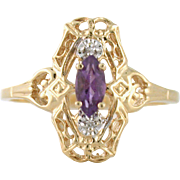 Estate Amethyst Ring with diamonds size 6 in 10k yellow gold. Marquise Cut Amethyst. Gemstone