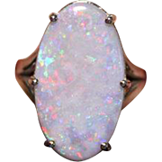 BIG SALE! Natural Australian Opal 14kt white gold Ring 8.68ct Custom Made One of a Kind Lots of Fire!