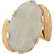 Splendid Australian Opal, Custom Estate Cut 18k gold Ring. Custom Cut Opal, 1959