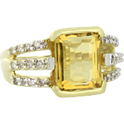 Citrine and Diamond Ring Circa 1980s 14k yellow gold