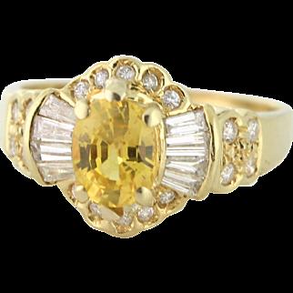 Golden Sapphire 1.00ct, Diamonds .90tcw in 18k yellow gold. Custom, 1964